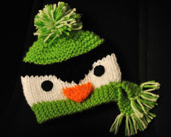 KNITTING PATTERN for Penguin Beanie  Size 04 Years by Route45, $3.50
