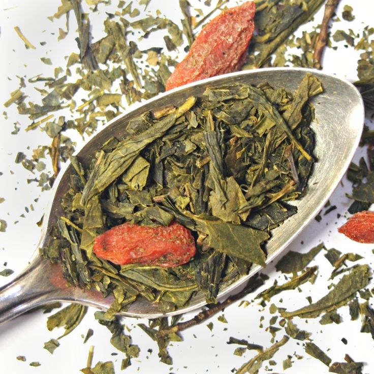 Strawberry Goji Green Tea Loose Leaf - Noble Blend | We love a light, delicate, nourishing cup of green tea — especially a lovely, grassy #Sencha green tea — and we've found the perfect complement: strawberries and goji berries.  Carefully blended, together they add a gentle sweet/tart note. #tea #greentea #strawberry #gojiberry #organic
