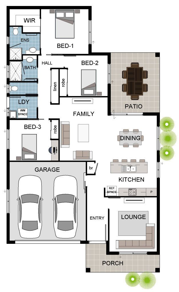 17 best images about house floorplans on pinterest house for 3 bedroom house plans with double garage
