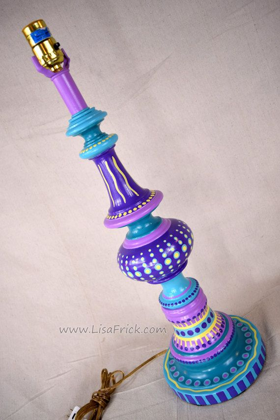 Hand Painted Table Lamp  018- Fun Funky Whimsical and Crazy- FREE SHIPPING! by LisaFrick on Etsy