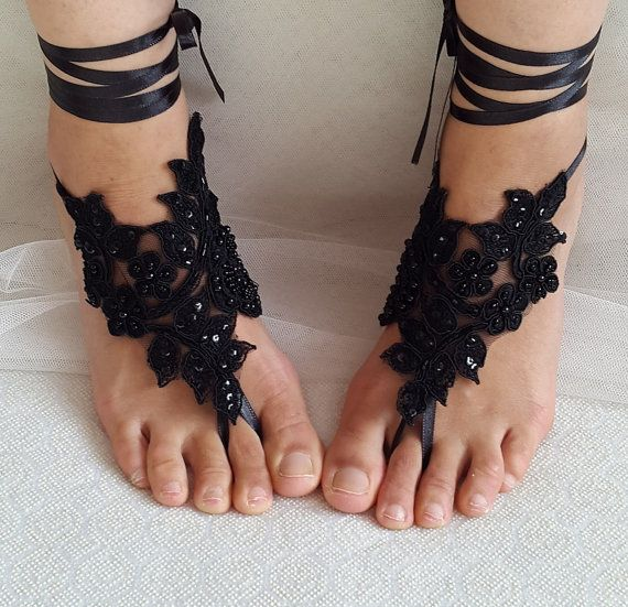 Hey, I found this really awesome Etsy listing at https://www.etsy.com/listing/384797690/beaded-black-lace-wedding-sandals-free