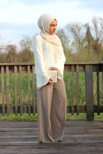 neutral palazzo pants with hijab-Neutral hijab outfit ideas http://www.justtrendygirls.com/neutral-hijab-outfit-ideas/
