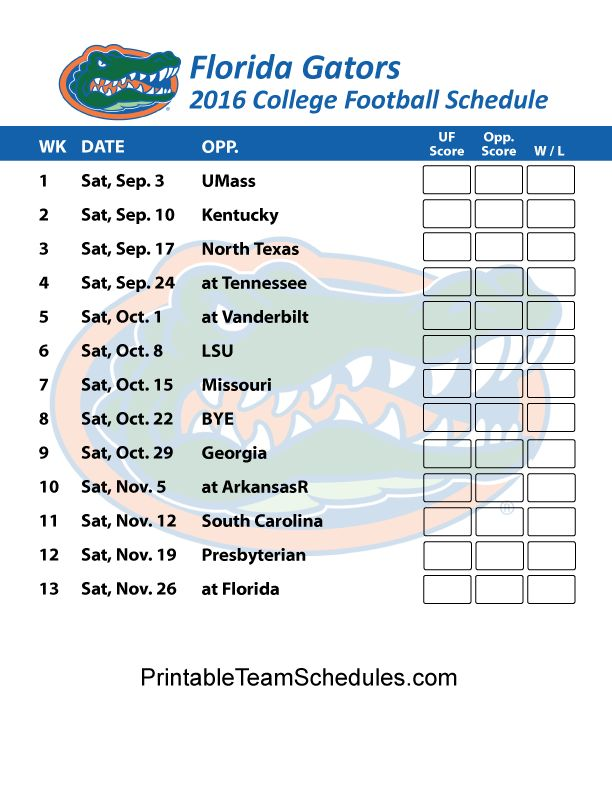 Florida Gators  Football Schedule 2016. Score Updates & Printable Schedule Here - http://printableteamschedules.com/collegefootball/floridagators.php