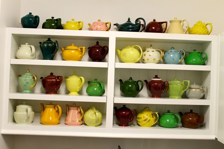 Hall pottery teapots.  I don't have (quite) this many.
