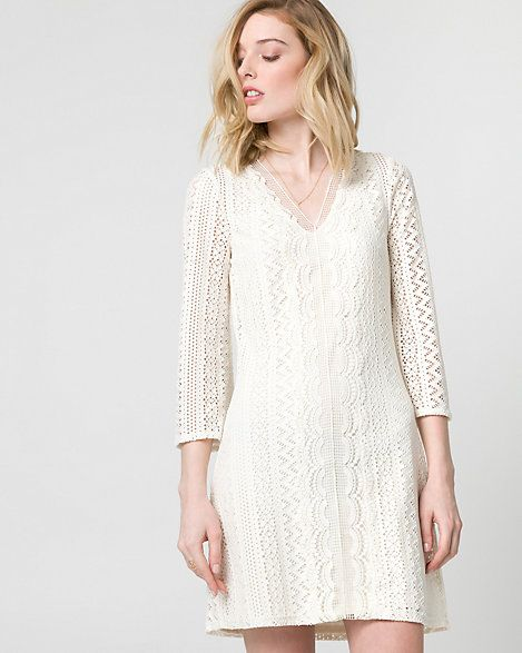 Knit Crochet Tunic Dress - Made for easy weekends, a chic crochet dress is designed with flare sleeves and mini length.