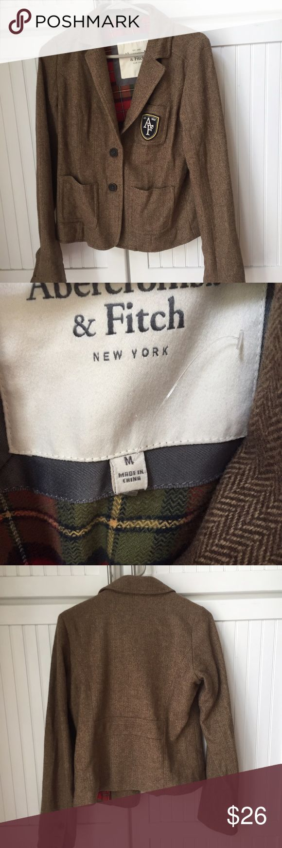 A&F tweed blazer Tweed blazer with Plaid lining from Abercrombie and Fitch / worn only once! In brand new condition / feel free to ask questions or make an offer! 😊 Abercrombie & Fitch Jackets & Coats Blazers