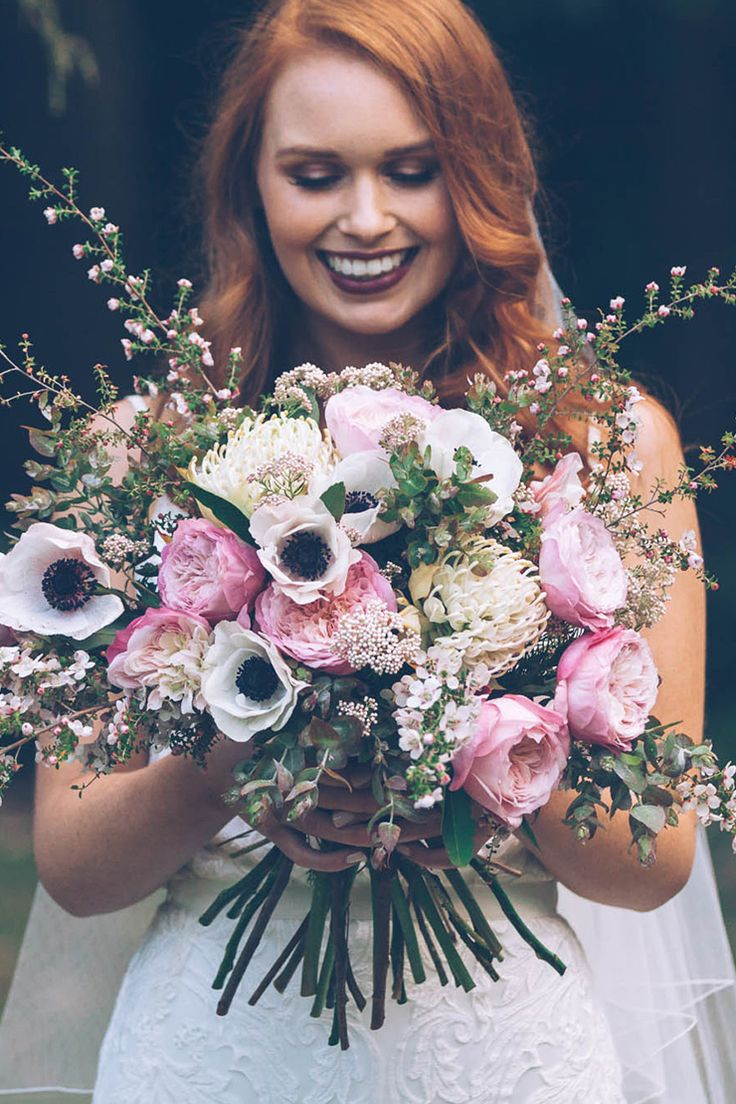Modern romantic wedding bouquet with pink roses and white anemones   Kristie Carrick Photography