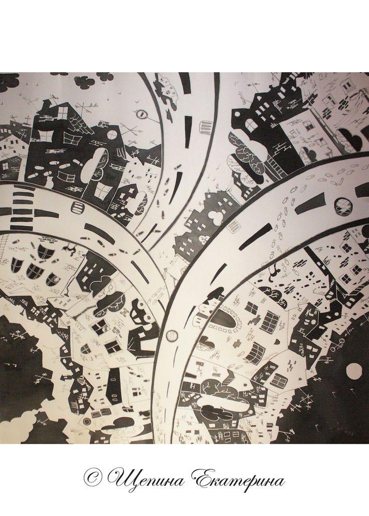 Шейный платок с городским пейзажем