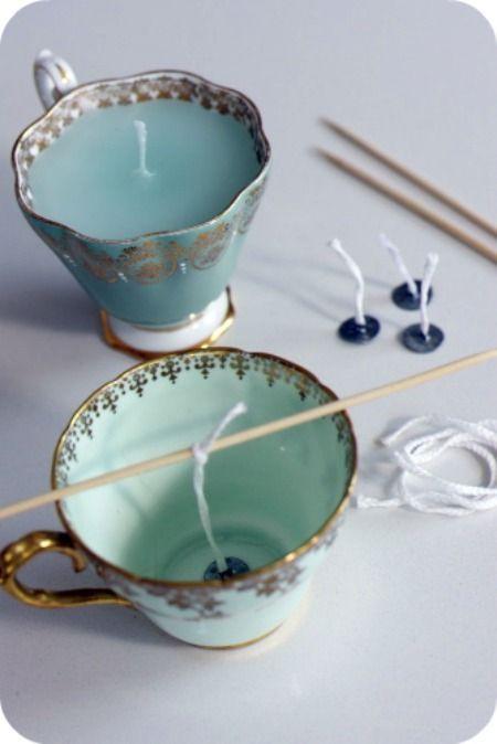 Teetasse Kerzen – fantastische Idee! Ich suche gerne nach Teetassen im Secondhand-Laden …   – Basteln