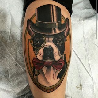 Dapper Boston Terrier Tattoo - Chris Primm @primm_ - San Diego, California