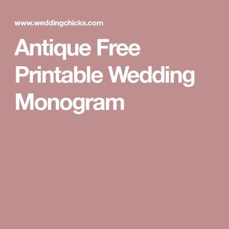 Antique Free Printable Wedding Monogram