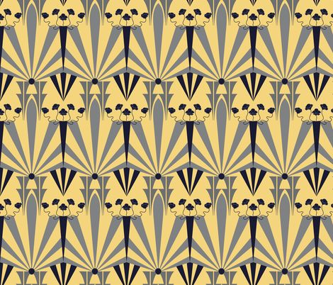 Art deco fabric golden age and spoonflower on pinterest for Art deco style fabric