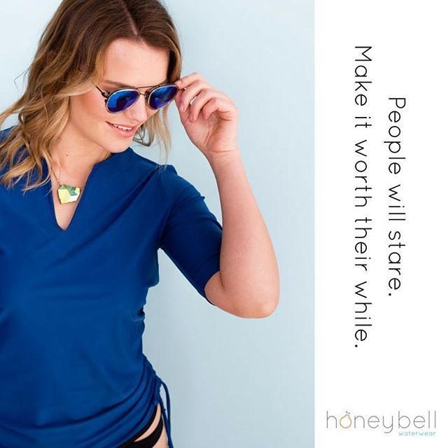 I think rashies are ugly. If I wore one, you'd stare at me.  But I need to set a good example for my kids. I also have lumps and bumps to cover (because of said kids). And I also want to look good when I am feeling vulnerable in my swimsuit.  Honeybell is your solution.  A fashionable solution!  Because looking good and feeling beautiful are just as important as being protected by the sun.