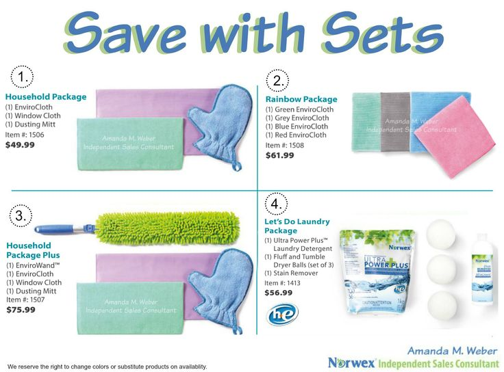 Get everything you want with the convenience of sets! And save money too! You aren't limited to these either! Visit my website to purchase or view the other packages. mollyking.norwex.biz