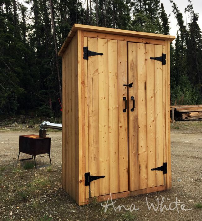 Ana White | Build a Small Outdoor Shed or Closet Converted into Smokehouse | Free and Easy DIY Project and Furniture Plans