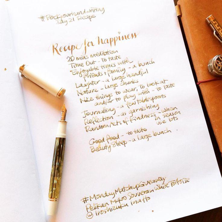 Hvit/gjennomsiktig penn med Diamine Golden Sands-blekk ❤
