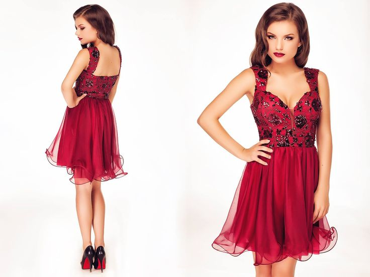 Short occasion dress made from sequined lace and silk veil in burgundy shades. #shortdress #elegantdress #burgundydress