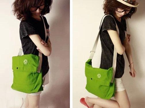 Small fresh women's handbag green canvas bag messenger bag shoulder bag  cross-body cell phone pocket