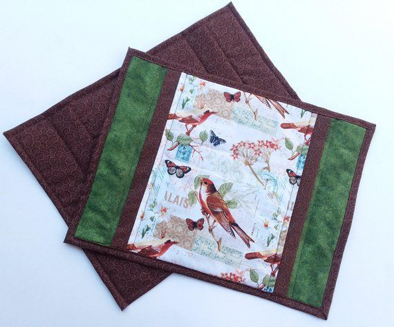 quilted fabric placemat set of 4 mug rug quilted table decor candle mat Christmas gift green and brown floral placemats