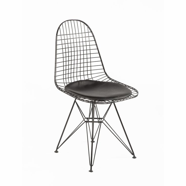 Mid-Century Modern Reproduction Wire Chair with Seat Pad DKR.5 - Black Frame with Black Seat Inspired by Charles and Ray E.