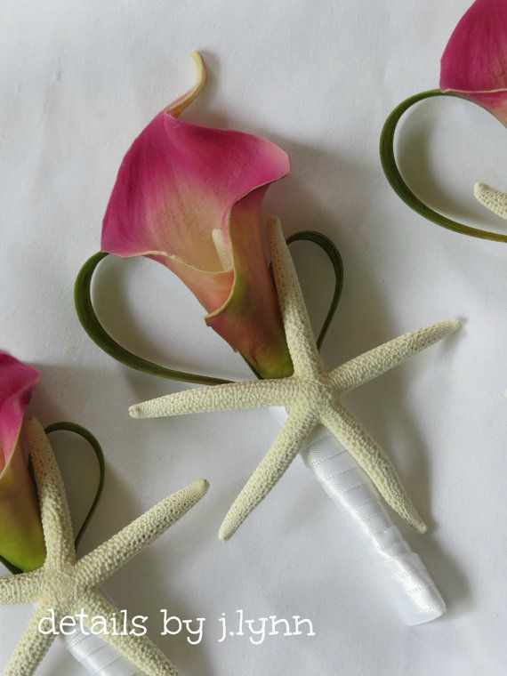 Tropical Beach Boutonniere / Bout - Deep Pink Calla Lily, Festina Grass and Star Fish - Wedding on Etsy, $9.00