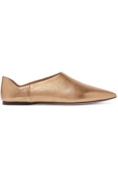 Prada - Metallic Leather Point-toe Flats - Gold - IT35.5