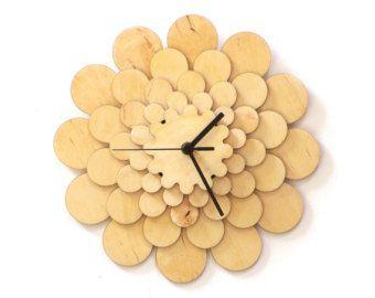 Radium II stylish modern wooden wall clock in blue a by ardeola