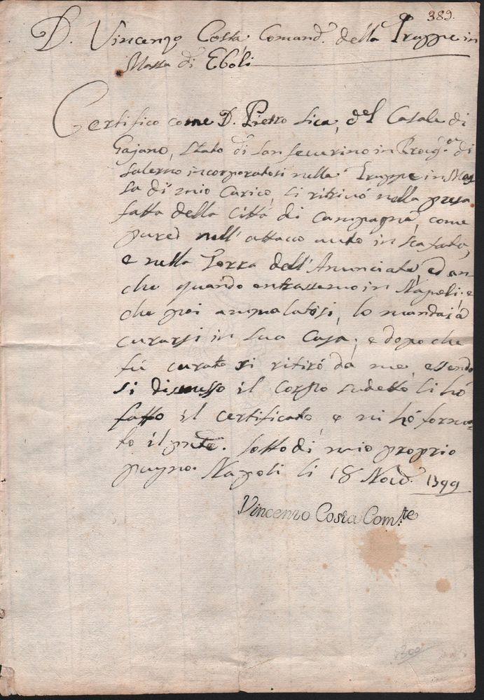 BRIGANTAGGIO-VINCENZO COSTA-CERTIFICATO A P.SICA FERITE RIPORTATE IN GUERRA-1799
