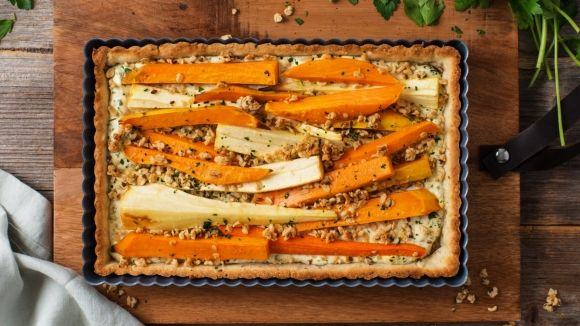 Roasted Root Vegetable Tart with Hemp Plus Granola   roasted squash recipe, roasting parsnips, veggie tart, how to roast a squash, roast vegetables, christmas dinner side dishes, how to make a christmas dinner, side dish ideas