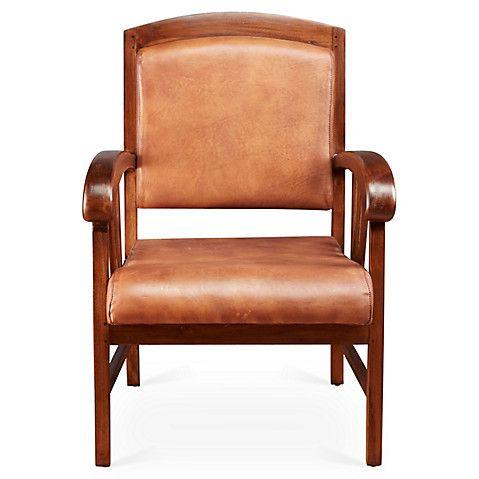 Карли кожаное кресло, Коричневый