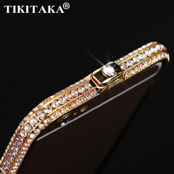 Nuevo estilo de diamantes de imitación de metal de parachoques de bling Corona de lujo del diamante cristalino de nuevo cubierta de la caja del teléfono para iphone 5 5s se 6 6 s 7 más