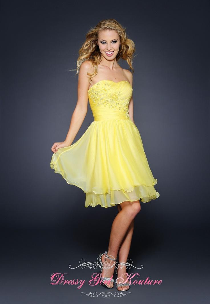 Strapless Chiffon Short Dress by Lara Designs 21692