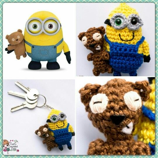 Free Crochet Pattern For Bob The Minion : Crocheted Minion Bob keychain www.etsy.com ...