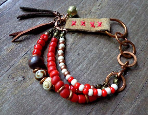 Native American Indian inspired bracelet, red tribal bracelet, hand stitched leather wrap bracelet, Karma bracelet, bohemian hippie jewelry