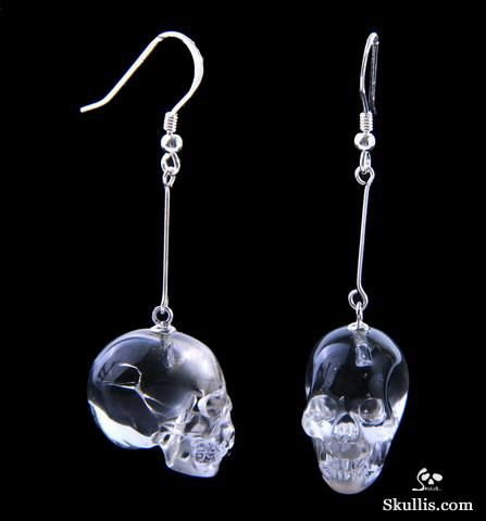 Quartz Rock Crystal Crystal Skull Earrings