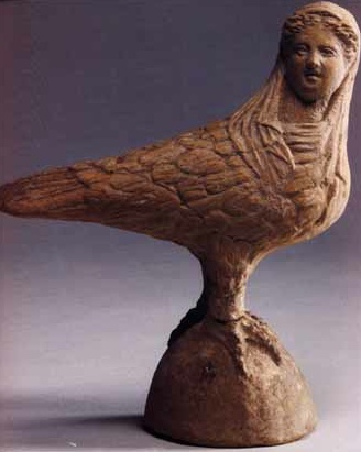 Siren, 400 BC -- though it looks more like a harpy to me. I suppose that's a matter of perspective. :D