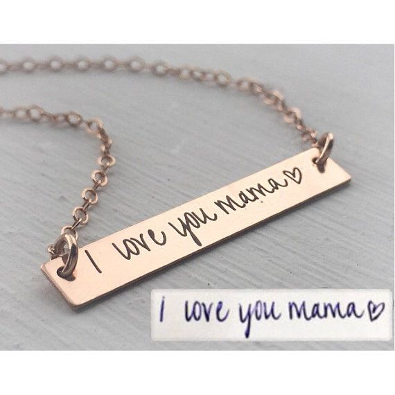 Your Handwriting Jewelry Necklace Handwritten Bar Rose Gold Custom Unique Personalized Gift Mother Daughter Christmas Bridesmaid Pendant Mom