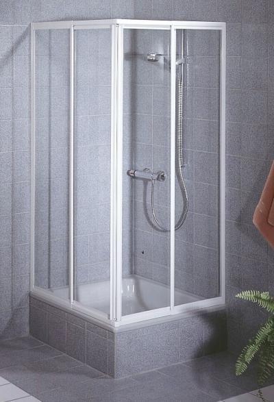 Schulte Schulte Duschkabine Sunny Eckeinstieg weiß 2-teilig Echtglas
