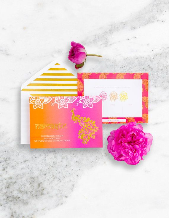 Bollywood Party Invitation Set, Bollywood Party Ideas, Bollywood Party Supplies, Bollywood Party Invitations, Indian Princess