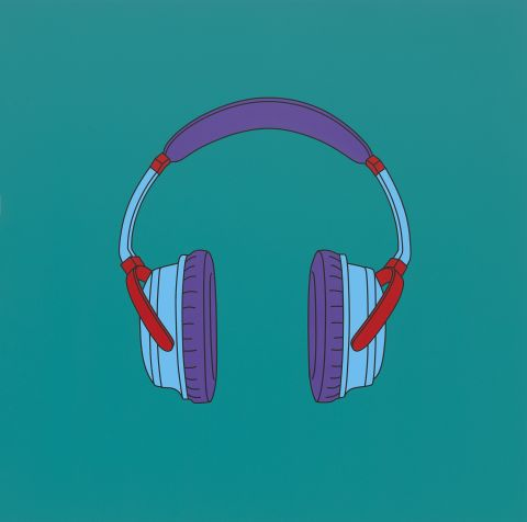 Michael Craig-Martin: Transience | Serpentine Galleries. Michael Craig-Martin; Untitled (headphones medium), 2014; Acrylic on aluminium; © Michael-Craig Martin; Courtesy of Gagosian Gallery; Photo: Mike Bruce