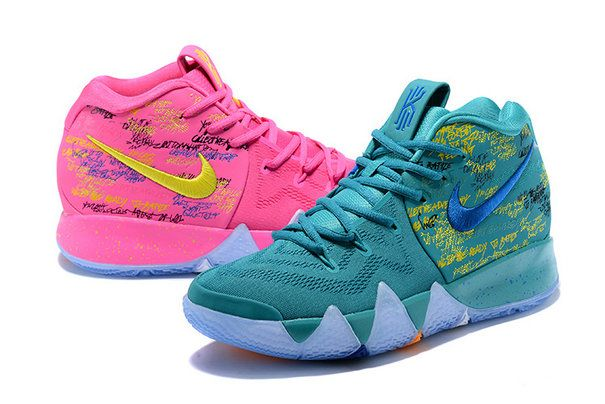 54b8e9feb555 Mens Original Nike Kyrie 4 What The Pink Teal Christmas Basketball Shoes