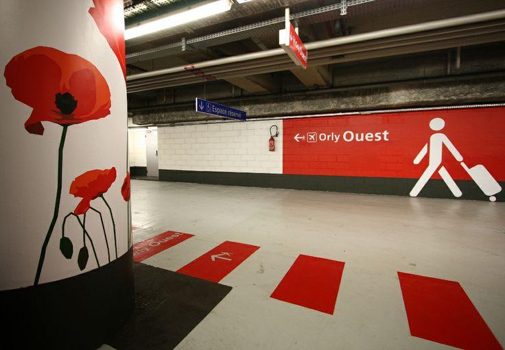 #signalétique et #rénovation de parking réalisées par Megamark sur les aéroports Parisiens