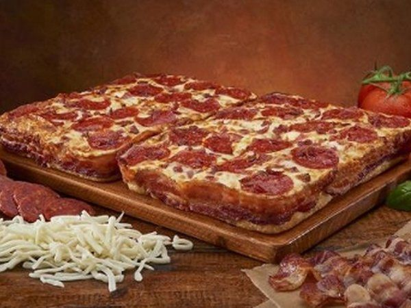 Little Ceasers Unveils Their Bacon Wrapped Crust Deep! Deep! Dish Pizza #pizzas trendhunter.com