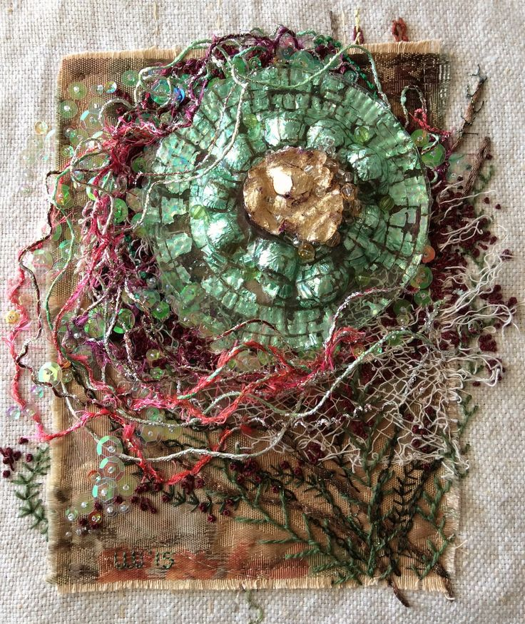 "Lee Ann Walker, 'Trapped', 8x10"" fiber art. (Melted CD, wire, beads, sequin, cotton floss on polyester over linen base. 1/2015"