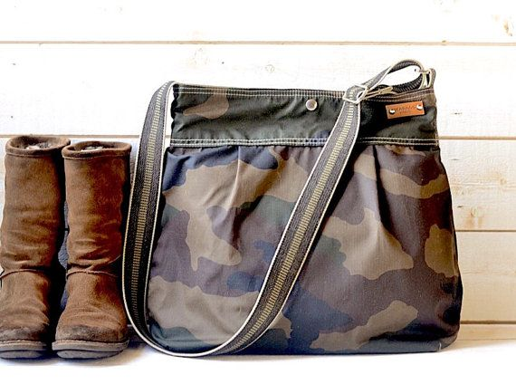 Camouflage Waxed Canvas bag / Messenger bag / Tote / Diaper bag / Green Women…