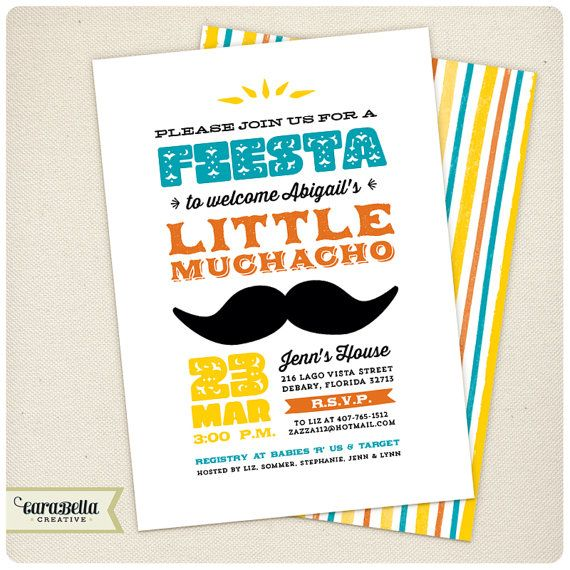 Fiesta baby shower invitation and thank you card - Fiesta baby shower ...