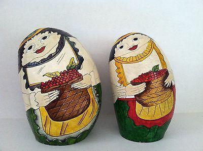 Raro Conjunto De 2 Cabaça Pintada À Mão Casal tarrali Colômbia Arte Folclórica Da América Latina