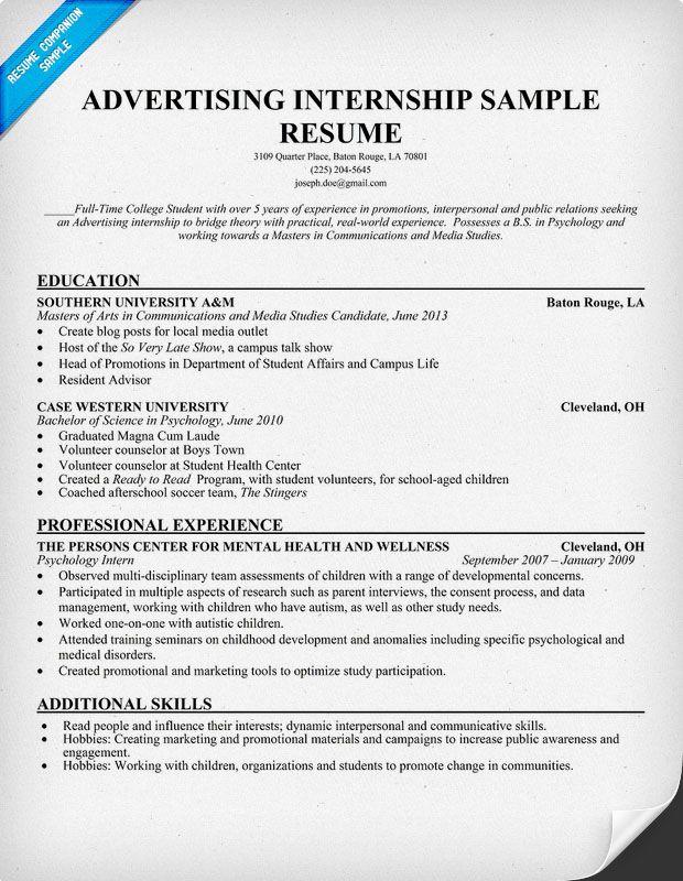 Advertising Internship Resume Template resumecompanion – Student Internship Resume Template