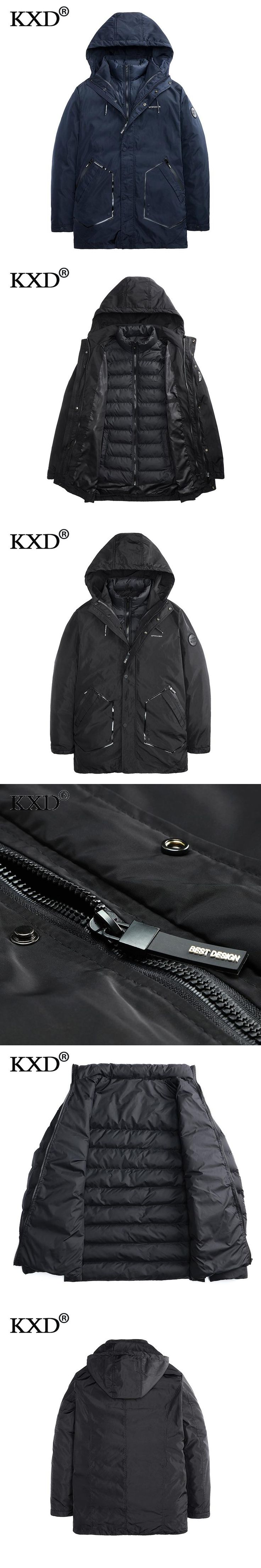 KXD 2017 New Clothing Jackets Business Long Thick Winter Coat Men Solid Parka Fashion Overcoat Outerwear Parkas Hombre Invierno