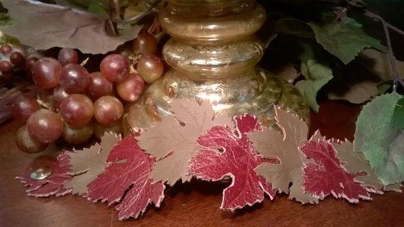 Grape leaf bracelet Leather leaf cuff bracelet by laurelicottage